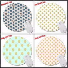 High quality Gold And White Polka Dot Fabric Desktop Pad Mousepads Computer Animation Round Mouse Mat Round Mice Pad(China)