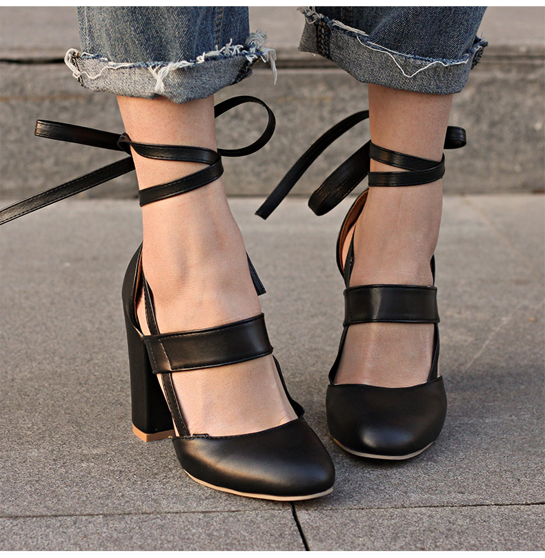 Women Pumps Comfortable Thick Heels Women Shoes Brand High Heels Ankle Strap Women Gladiator Heeled Sandals 8.5CM Wedding Shoes 10