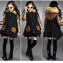 2018 New Children Outerwear Cotton Winter Hooded Coats Jacket Kids Coat Black Red and Gold Girls Clothing Thick Down & Parkas(China)