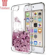 Tobebest SFor Apple iPod Touch 5&6 Silicone Case Dynamic Glitter Liquid Quicksand Lovely Heart Bling TPU Cover For Ipod touch 6(China)