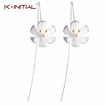 1pair 925 Silver Golden Bud Flowers Earrings For Women Flower Drop Earrings Women Hook Earring Statement Jewelry Wholesale Gift