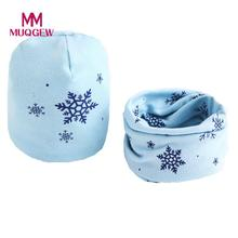 MUQGEW Fashion Baby Hat Scarf Cute Winter Kids Baby Hats Keep Warm Set Cute Baby Scarfs Kawaii Printed 7 Colors Cotton baby cap(China)