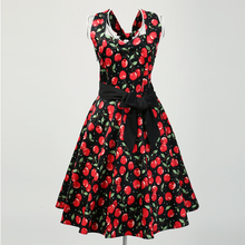 Candow Look Women Floral Red Print Big Size UK Online Stores Vintage Rockabilly Inspired Club Sexy Going Out Dresses with Belt(China)