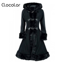 Clocolor Women Black Hooded Winter Wool Coat Full Sleeve Autumn Winter Warm Female Long Cloaks Outwear Back Lace Up Wool Coat(China)