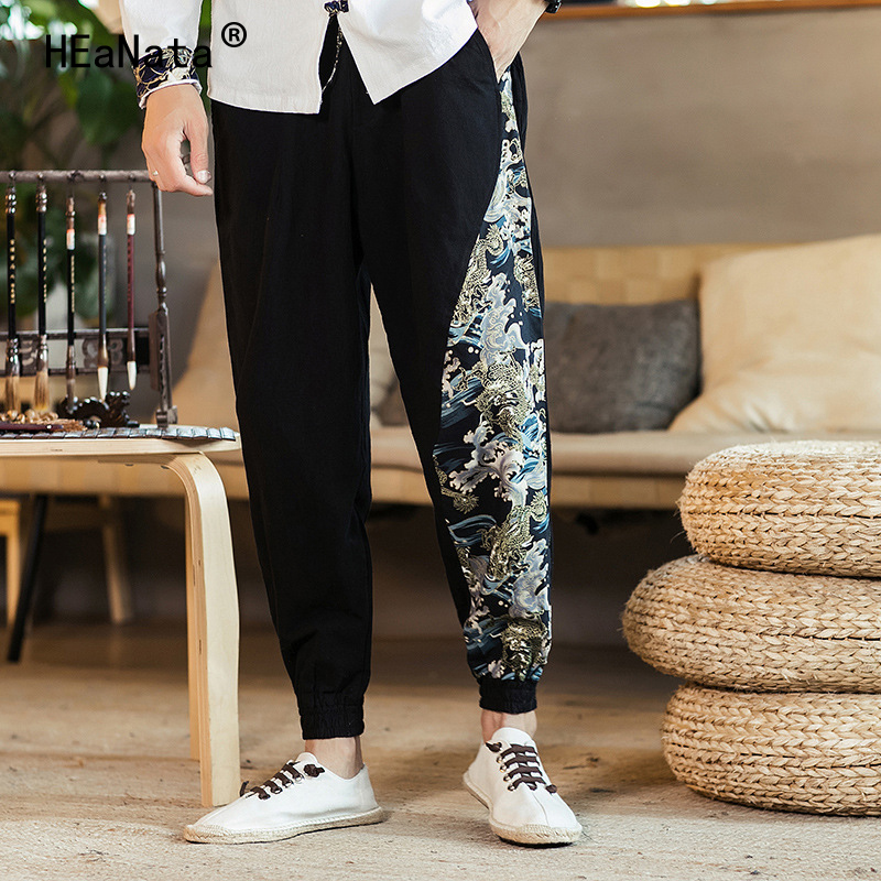 2019 Man Cotton Linen Pants Mens Ethnic Style Print Patchwork Pants Male Casual Harajuku  Harem Pants Jogger  Fitness Trousers