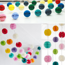 Connected 10 FT Honeycomb Ball Garland Tissue Balls on a String Backdrops Wedding Birthday Showers Space Hanging Party Decor(China)