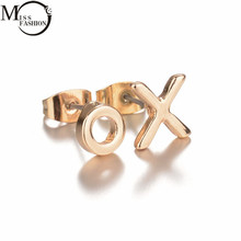 MISS FASHION Minimalist Gold/Silver Celebrity Style XO Letter Stud Earrings New Fashion Women Female Party Gift Earring Jewelry