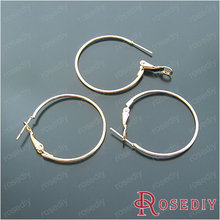 Wholesale Diameter 30mm Imitation Rhodium / Silver / Gold color Round Iron Small Hoop Earrings Diy Findings 20 pieces(JM4934)