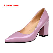 5dd465f3811 JYRhenium New 33-43 Woman Purple High Heels Women Pumps Ladies Office Shoes  Heel Woman Pointed Toe Thick Heels For Women Shoe