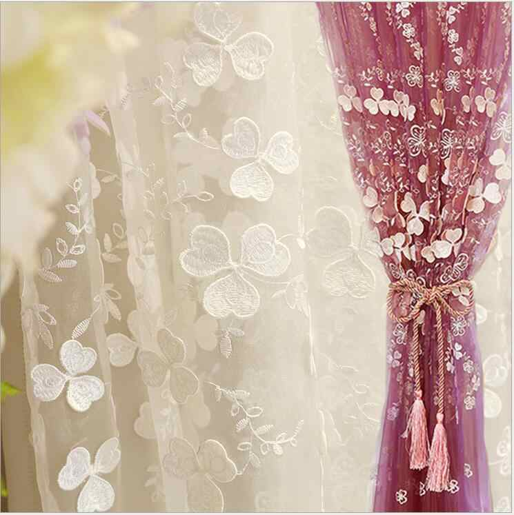 High Quality stereoscopic Embroidered White purple Tulle Curtains for Living Room Window Curtains Bedroom Sheer Voile Drapes