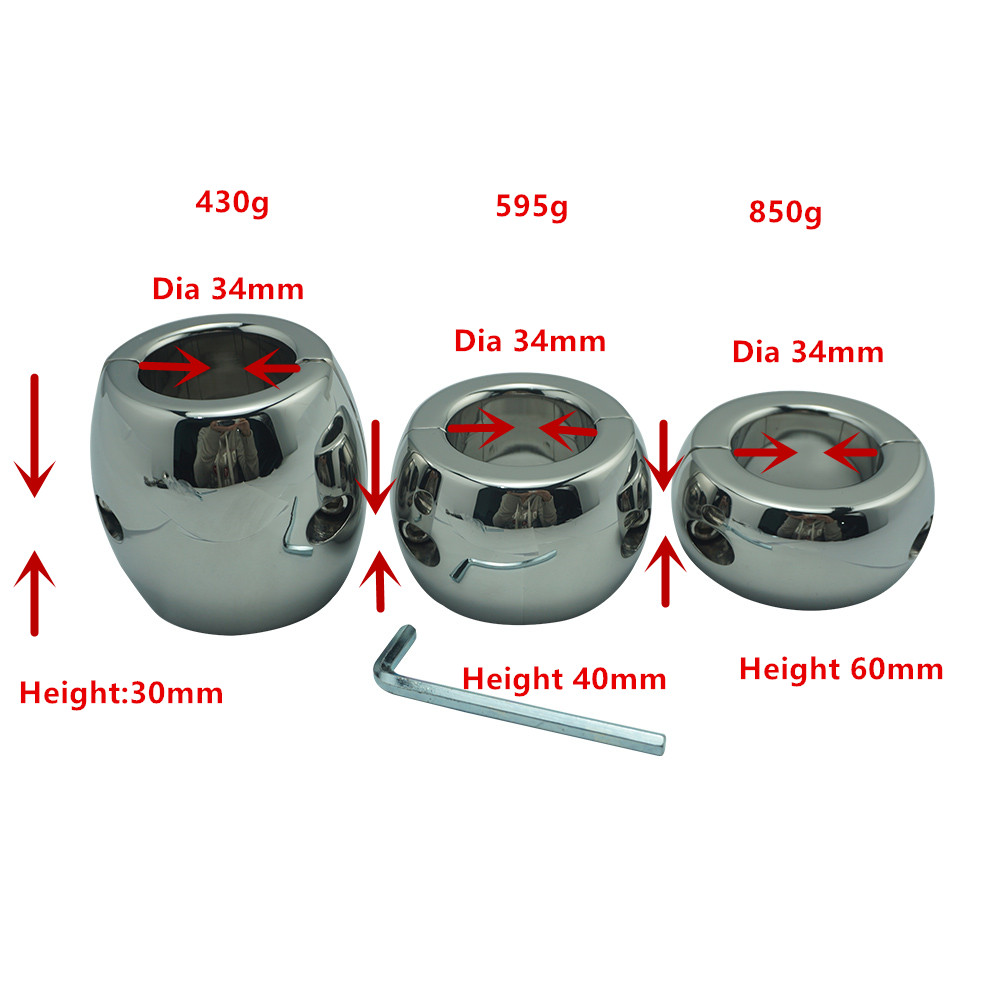 Height 30/40/60mm stainless steel testicle Ball Stretcher Scrotum cock ring metal locking pendant Weight for CBT male sex toy 1