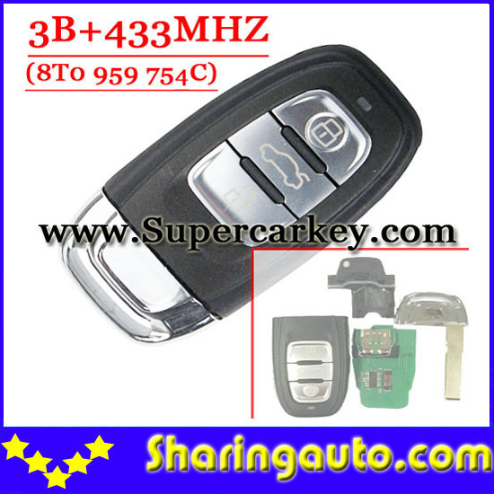 Free Shipping ( 1pcs ) Excellent Quality Remote Key for Audi  A4L Q5 3Buttons Remote Key 433 mhz 8T0 959 754C(OEM)<br>