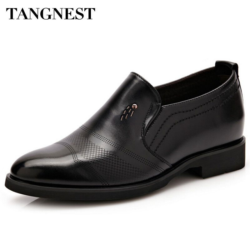 Tangnest Luxury Brand Men Oxford Flats Pu Leather Males Elevator Shoes Solid Slip-on Men Formal Dress Shoes Size 37~44 XMP643<br>