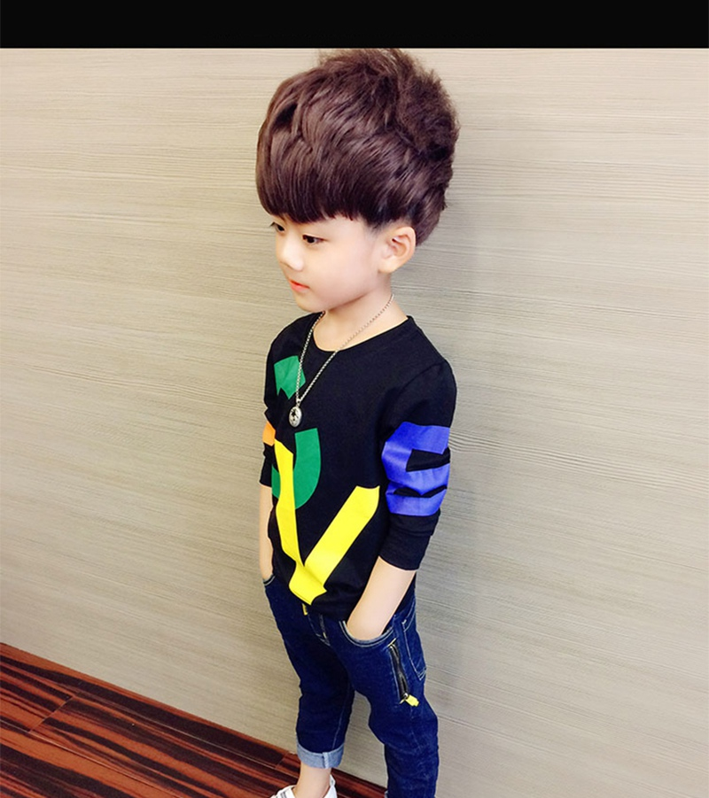 COOTELILI 80-130cm Black T-Shirt Children Tops Letter Kids Clothes Long Sleeve T Shirt Toddler Boys Spring Clothing Costume (7)