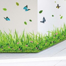 Green Butterfly Flower Skirting Line Printing Magic Cartoon Children Room Background Decorative PVC Baby Wall Stickers Poster