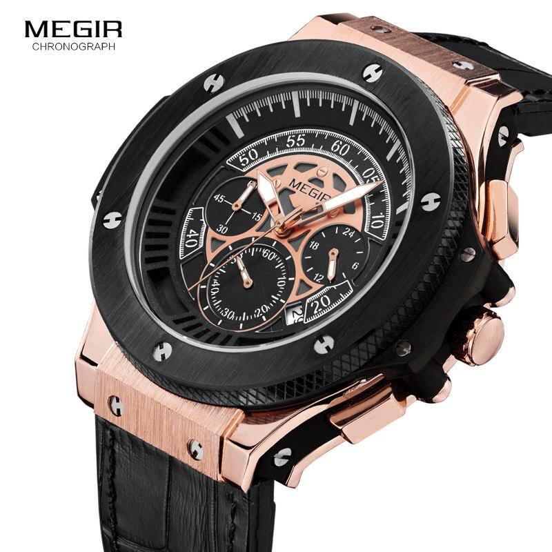 MEGIR 2017 Men Watches Luxury Brand Big Dial Quartz Wrist Watch Male Sports Army Military Watches Gold Chronograph Clock<br>