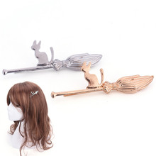 Cute Cat On Magic Broom Silver Golden Metallic Hair Clips And Pins Hairgrips Barrettes For Women Hair Jewelry(China)