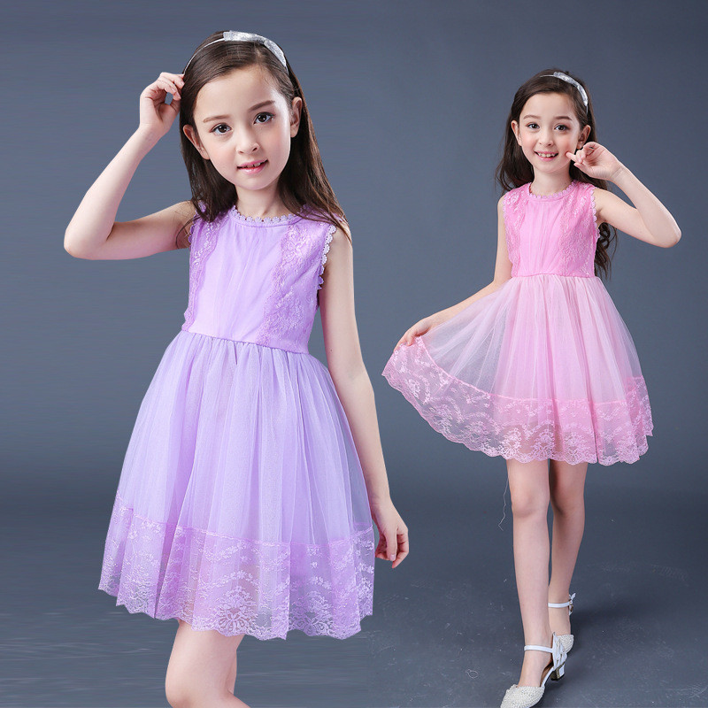 2017 Cute Girl Summer Vest Dresses For Girls With Ruffles Floral Pattern Casual Kids Girl Sleeveless Clothing Vestido 12 Years<br>