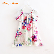 Malayu Baby Brand 2017 Europe and the United States the new summer girls thin section cotton flowers dress 2-7 years old