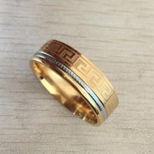 Square Fashion Accessories Simple Two Colors Golden And Sliver Great Wall Men Male Ring Titanium 316L Stainless Steel Rings