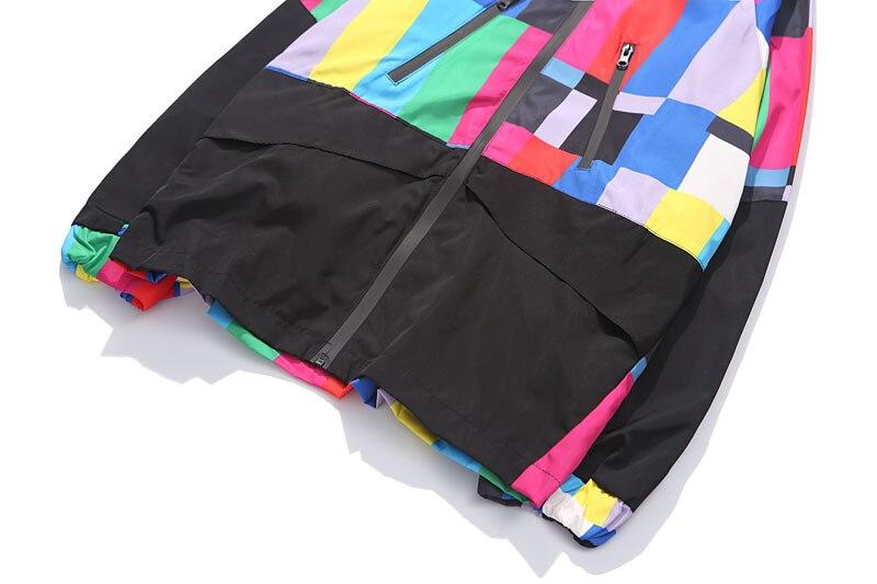 Multi Color Block Patchwork Hooded Zip Up Jacket 3