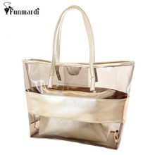 New arrival Summer transparent beach Bag Trend Panelled bag jelly candy bag clear PVC composite bag women handbag WLHB1117