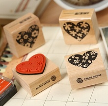 4 Pcs/lot New Heart Shape Blocks Wooden Rubber Craved Printing Stamp Wood DIY Fashion Craft School Scrapbooking Decor