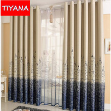 Customized Cartoon Blackout Curtains for Kids Bedroom Castle Curtain Tulle Blue/Coffee Curtains Drape For Living Room P2302