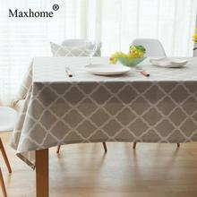 Nordic Simple Cotton Linen Table Cloth Gray Geometric Tablecloth Dining Table Cover Toalha De Mesa Lace Table Cloths(China)