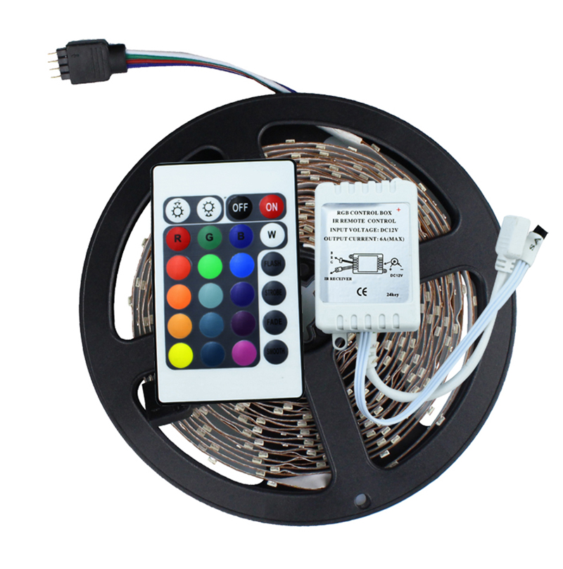 3528 SMD No-Waterproof RGB LED Strip Light DC 12V 5 meters 60led/m LED Flexible Light Strip with remote controller free shipping<br><br>Aliexpress