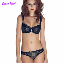 Sexy transparent women's ultra-thin lace bra set sexy briefs set underwear hot sexy bra and panties(China)