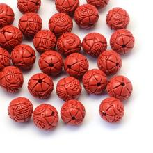 100pcs Round Flower Bud Cinnabar Beads, FireBrick, 8x7.5mm, Hole: 2mm