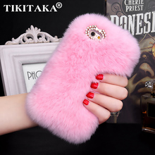 Fashion Fluffy Warm Soft Wool Rabbit Fur Skin Case For iPhone 5 5S 6 6S 6 Plus 6S Plus Hair fur Plush Bling Diamond Bow Cases(China)