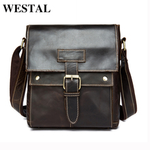 WESTAL Genuine Leather Men Bags Male Small Messenger Bag Man Fashion flap Shoulder Crossbody Bags men leather bag handbags 9040