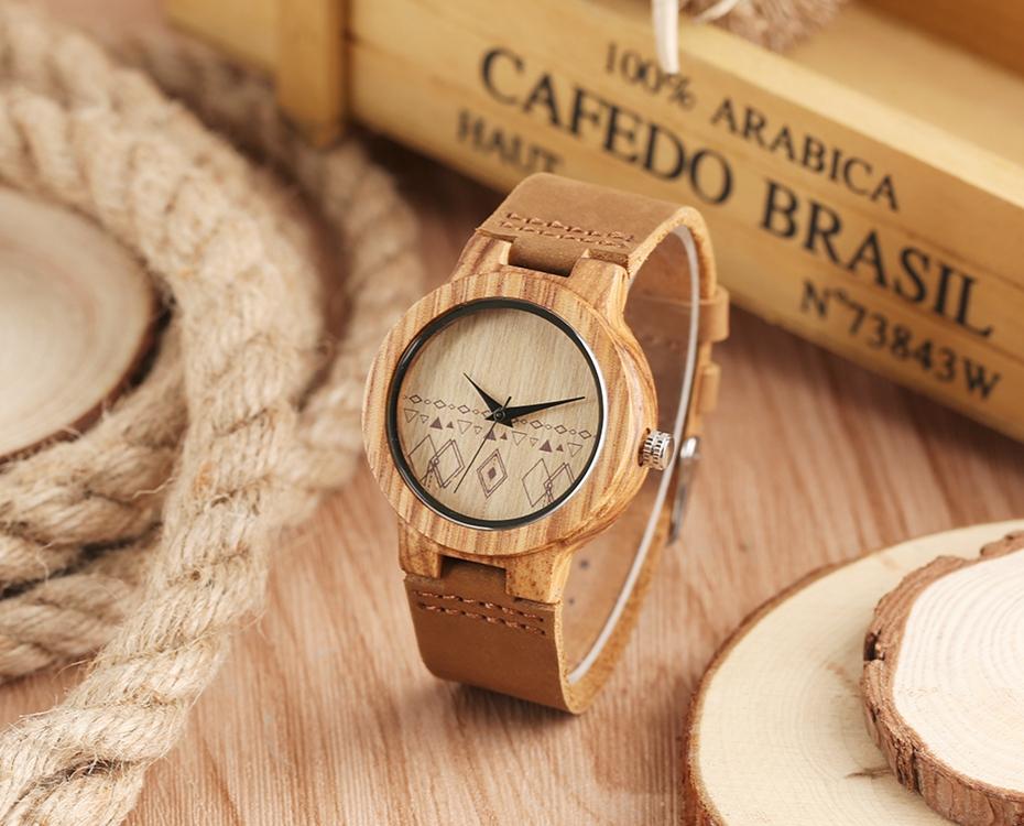 Top Gift Rhombus Dial Women Watch Creative Light Bamboo Wood Wristwatch Fashion Casual Clock Female Genuine Leather Ulzzang 2017 Christmas Gifts (13)