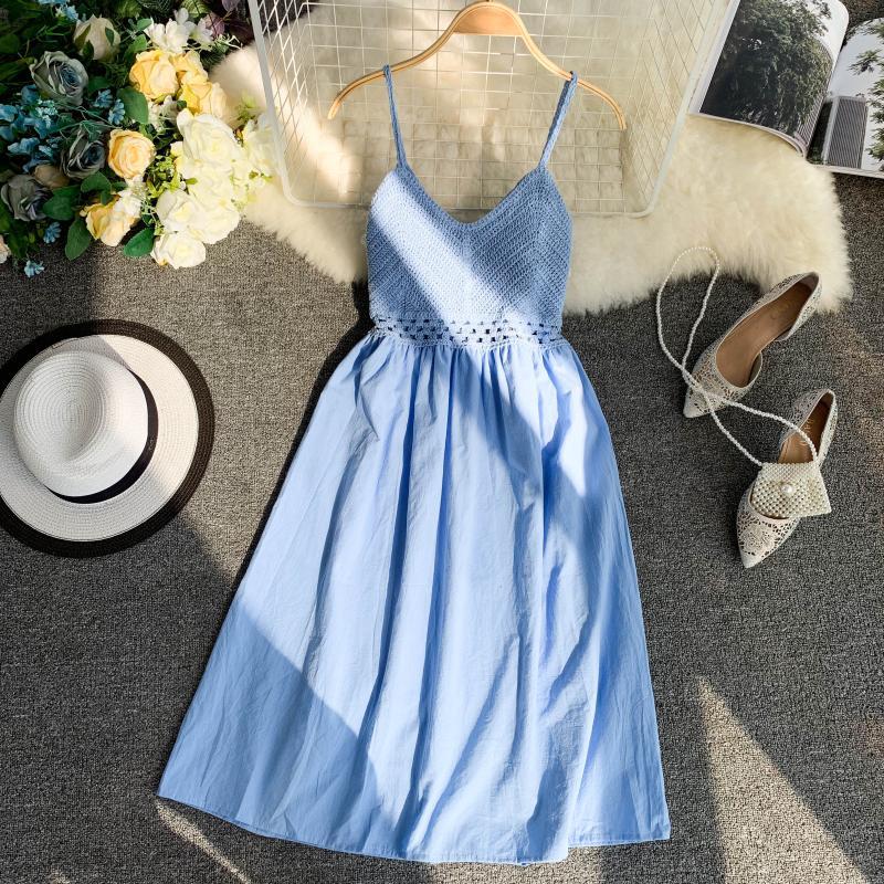 19 new fashion women's dresses Fresh openwork knit stitching V-neck strap high waist dress 7