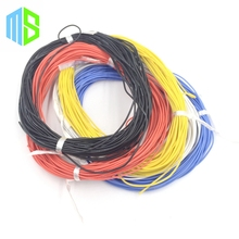 (5M/lot) 26AWG 30/0.08TS OD1.5mm 5colors flexible silicone electric wire high temperature tinned copper gel soft cable for model