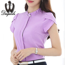 Dingaozlz Summer formal   Women shirt OL professional slim Chiffon blouse office ladies elegant work wear tops