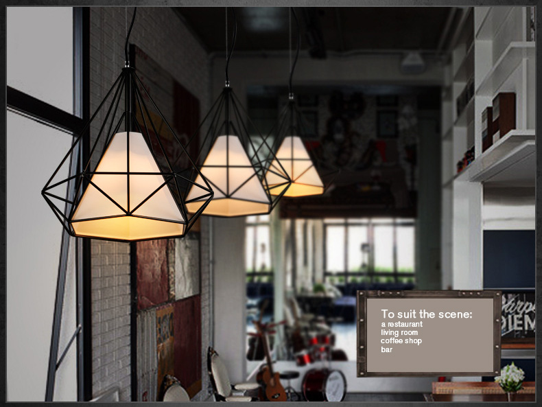 Modern Scandinavian Minimalist Bird Cage Lamp Art Diamond Pyramid Pendant Light Vintage Iron Pendant Rustic Light<br>
