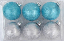 Free Shipping - Ice Patterns Christmas Ornament Decoration 80mm Glass Ball, Blue + Silver Color With a Silver Cap, 100/Pack(China)