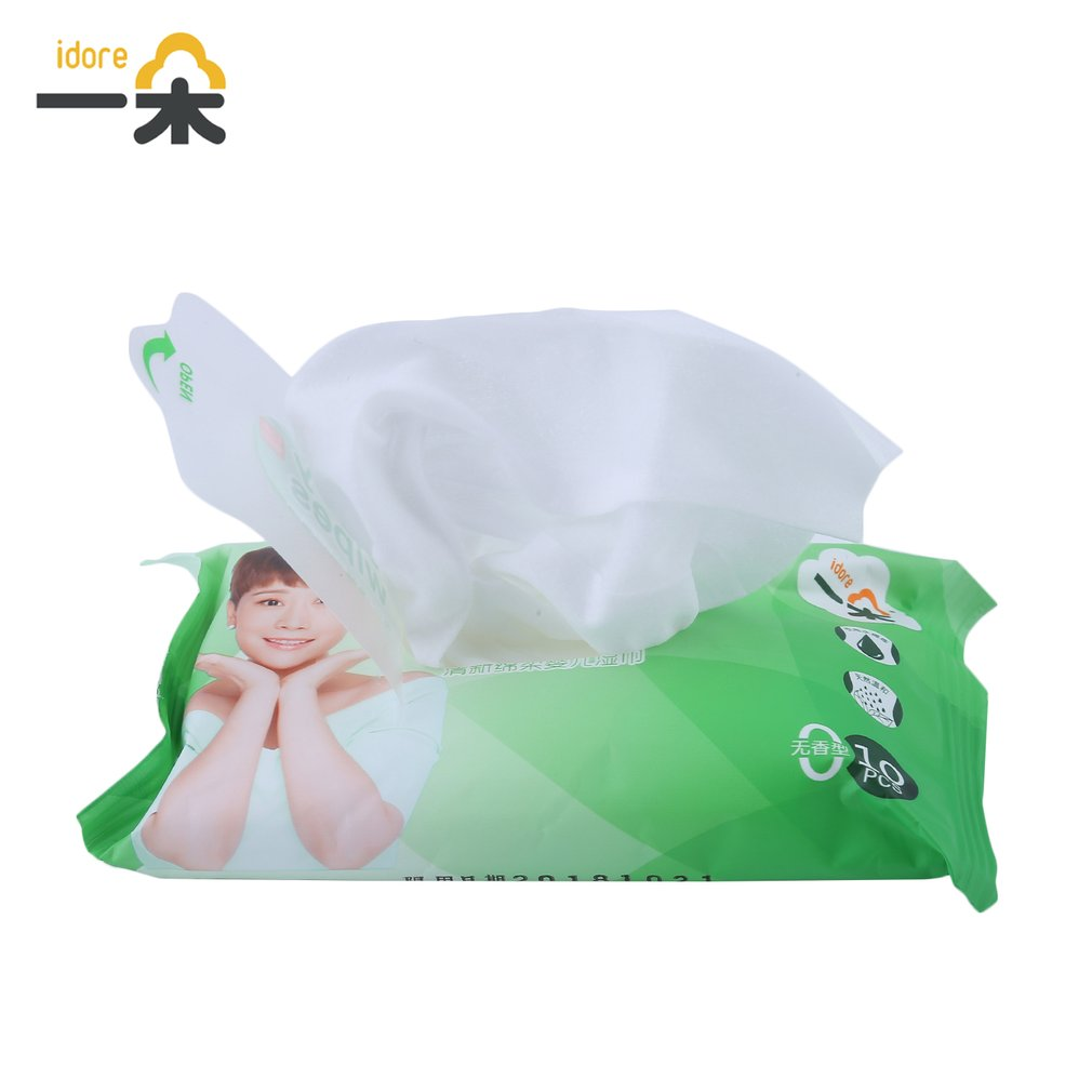 100pcs/10 Pack Idore Newborn Baby Wet Wipes Fresh Soft Moist Toddler Infant Disposable Portable Tissue Skin Clean Care Wet Wipes 9
