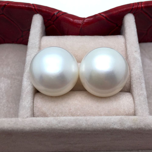CHARMING GENUINE RARE 13-14MM PERFECT   WHITE PEARL EARRING