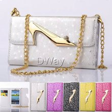 Luxury Leather Wallet Purse Cover Flip Case for Samsung Galaxy S3 SIII i9300 Handbag Case W/ Carry Strap Chain Coque Fundas