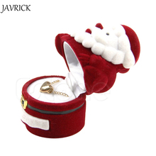 jewelry box Velvet Red Santa Claus Design Christmas Gift Ring Earring Ear Stud Necklace Jewellery Case Box Jewelry organizer(China)