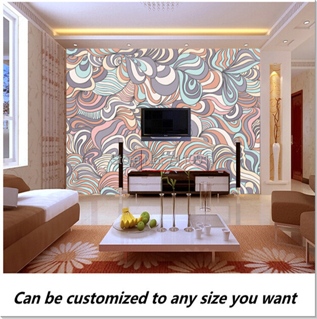 Free shipping custom 3D Swirly Pattern In Colourful Pastels Wall fresco Mural Wallpaper TV Bedroom Sofa backdrop<br><br>Aliexpress