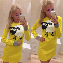 Pink Blue Yellow Dress Women Cute Sheep Printed Slim Long Sleeve Bodycon Casual Female Short Dress Vestido(China)
