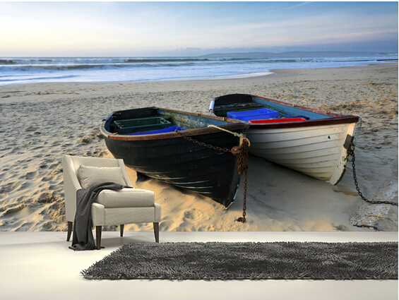 Custom landscape wallpaper,Fishing Boats on the Beach,3D photo mural for living room bedroom kitchen wall wall PVC wallpaper<br>