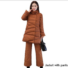Elegant Covered Button Cotton Padded Winter Jacket Women With Pants Solid Color Parka Thick Warm Winter Coat Manteau TT3565(China)
