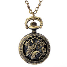 Cindiry Retro Bronze Quartz Pocket Watches Antique Flower Butterfly Carved Openable Women's Necklace Pendant Clock Children Gift(China)