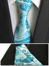 8cm Luxury Designer's Formal Ties Set Gentlemen's Ceremony Necktie SETS with Top Fashion Blue Paisley Hanky for Man
